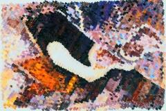 Gamma-uil. Detail van de voorvleugel met talrijke, microscopisch kleine, gekleurde schubben. | 35x24 cm / Acrylverf