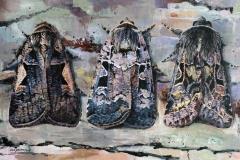 Van links naar rechts: <br/>Trapeziumuil, Zwarte-C-uil en Nunvlinder |  100 x 65 cm / Acrylverf